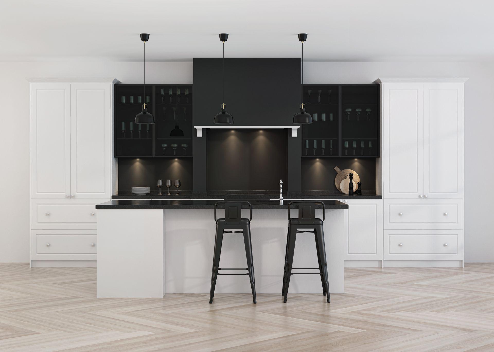 Moderne Küche aufgebaut